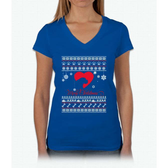Merry Christmas Dog Womens V-Neck T-Shirt