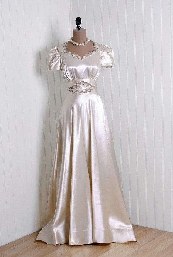 736aebddfcce 1930s Ivory Silk-Satin Wedding Dress with Appliques, Puff-Sleeves, and  Decorative Neckline.