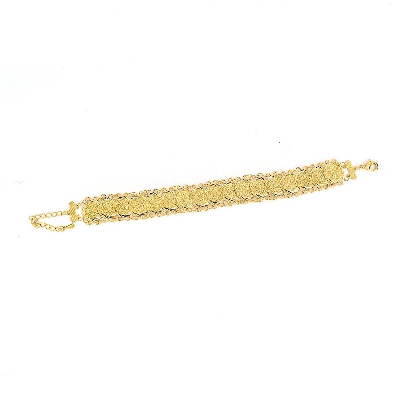 Gold plated islamic muslim arab money coins bracelet for women