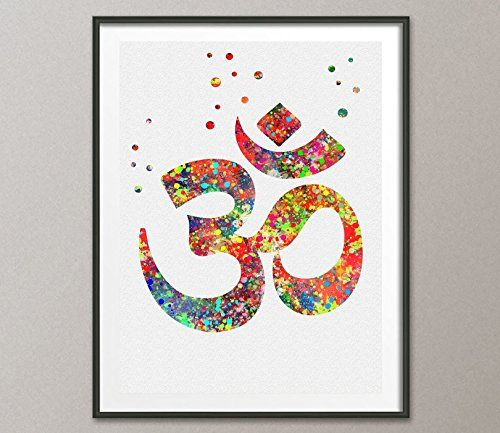 Ohm Symbol Watercolor Poster Ohm Yoga Watercolor Art Print Yoga Home Decor Spiritual Art Zen Decor Zen Painting Hindu Art *** Details can be found by clicking on the image.