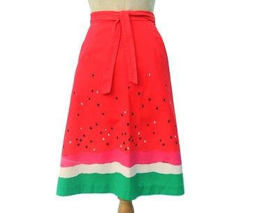 vintage watermelon print wrap skirt from malia. Neat idea for girls... Other possibilities: Cantaloupe, Strawberry, Kiwi, etc.