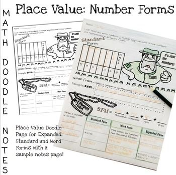 Doodle Math Notes Place Value Number Forms Math notes and Math - sample notes
