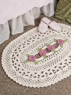 Vintage Style Crochet Lattice Rose Rug Or Doily Free