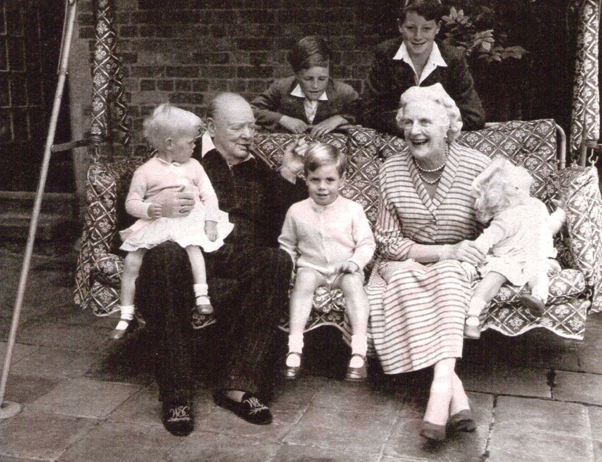 Winston Churchill And Family On The Family Swingseat