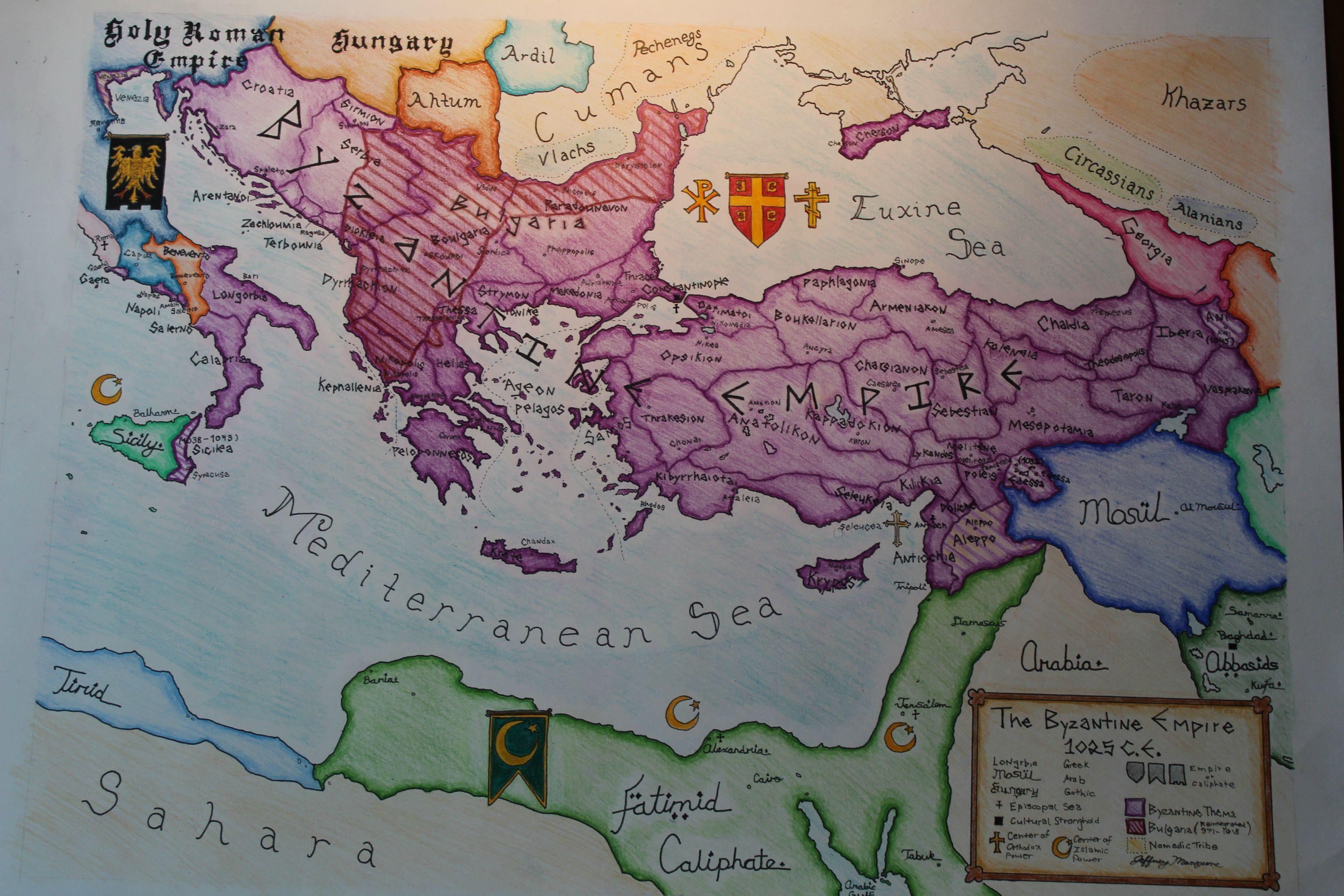 Byzantine Empire Hand Drawn Map Byzantine Empire Hand Drawn