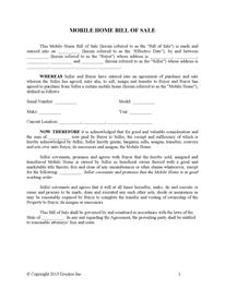 bill of sale for a mobile home