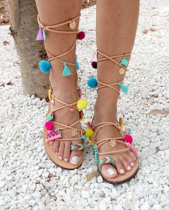2a8b3a5f532 pom pom sandals, Boho sandals, leather sandals, Colorful Sandals, beaded  sandals, gladiator sandals