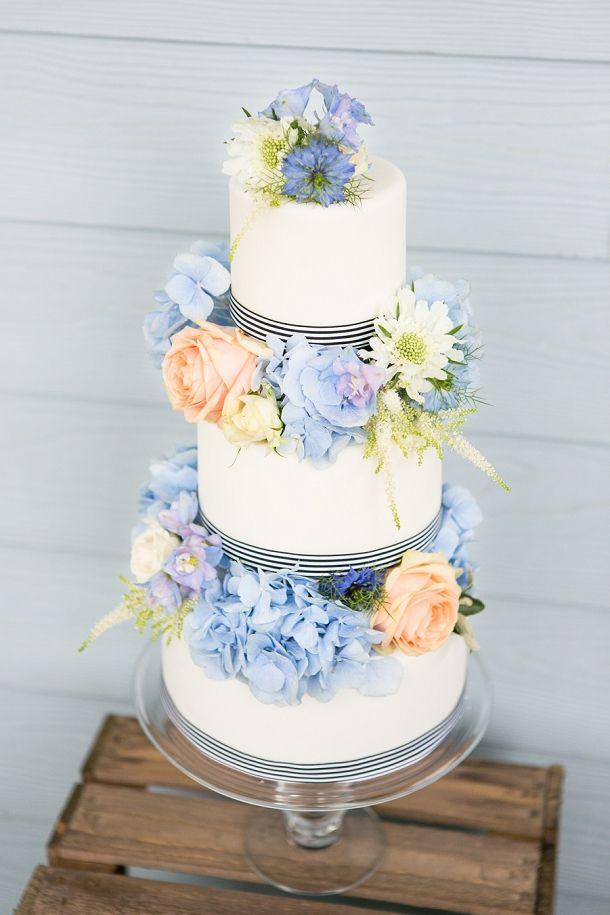 Royal Blue And Peach Wedding Cake