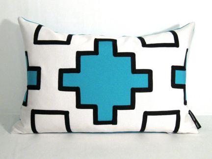 Etsy Turquoise White Black Modern Aztec Lumbar Outdoor Pillow