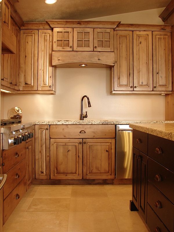 knotty alder rustic knotty alder cabinets love the cabinet and granite color and sink fixture - Alder Kitchen Cabinets