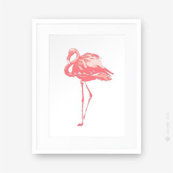 Coral Pink Flamingo Print, Bird Print, Monochrome, Animal Print, Minimalistic Wall Art, Modern Printable Art, Illustration, Instant Download