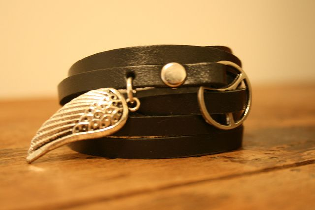 Black Leather Wrap Bracelet with Silver Angel Wing by Fullofcraft, via Flickr