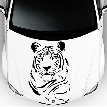 Car Decals Hood Decal Vinyl Sticker Tiger Wild Cat Animal Auto - Custom vinyl decals for car hoodsfull color graphic vinyl sticker decal skull ghost fit car hood