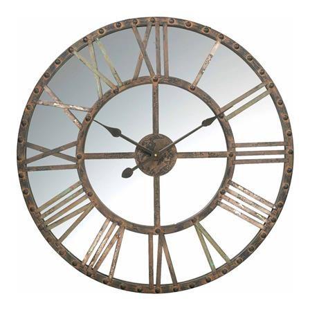 70cm Large Skeleton Edge Distressed Gold Grey Metal /& Wooden Circular Wall Clock