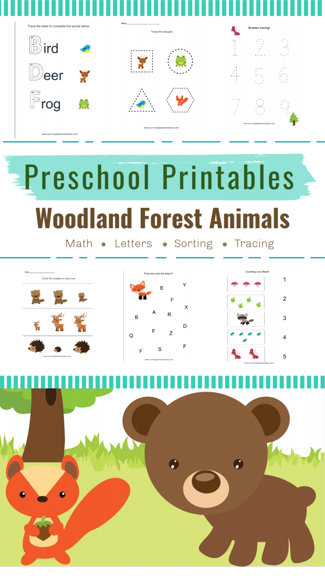 Woodlands Forest Friends Printable Preschool Set In