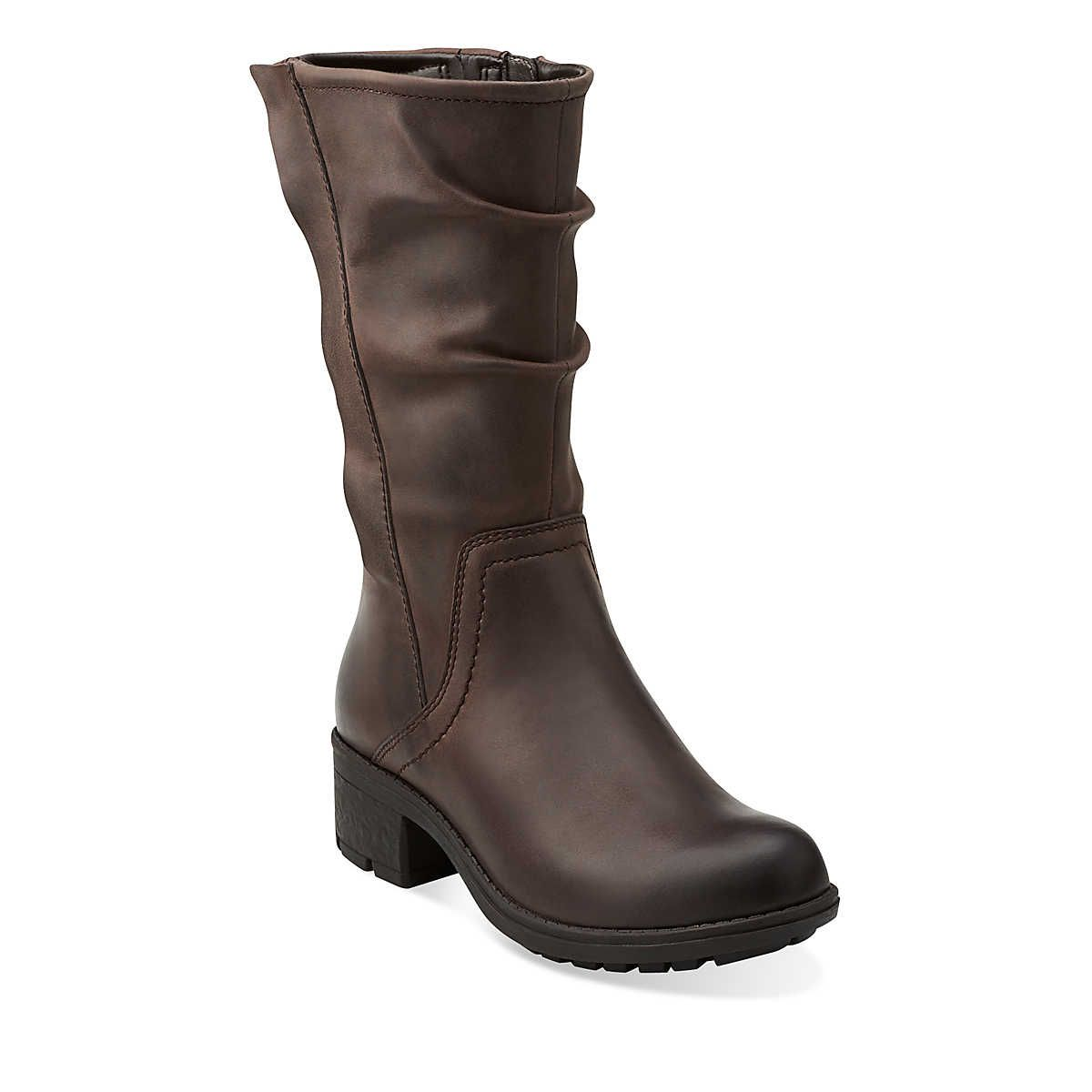 Women's Mid Calf Boots/Clarks Mansi Juniper Dark Brown Leather