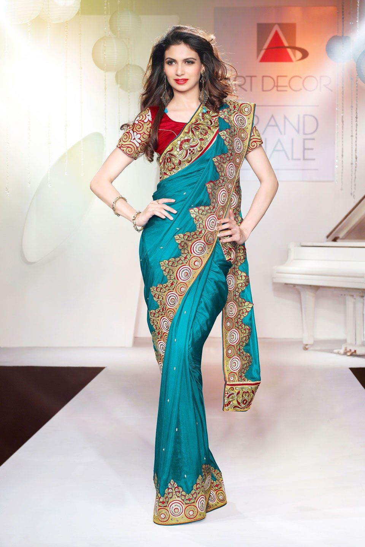 Craftsvilla-Peacock-Blue-Colour-Pure-Silk-Saree-Showing-Stone-Buttis ...