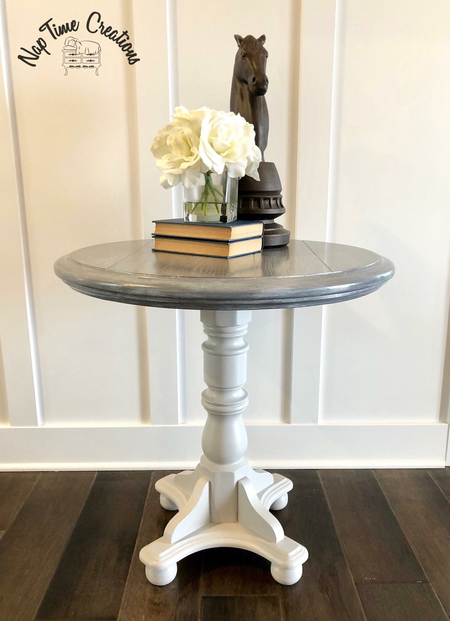 Round Side Table Makeover Painted In General Finishes Seagull Gray Milk Paint Top