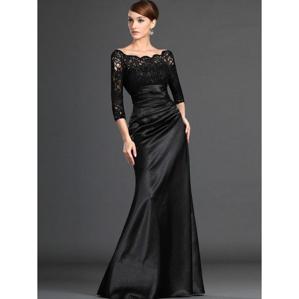 long black bridesmaid dresses | black-lace-satin-long-sleeves-long ...