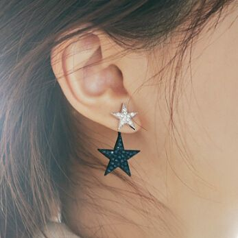 Cute Rhinestone Double Star Earrings For Women 2016 New Gold Plated Jewelry…