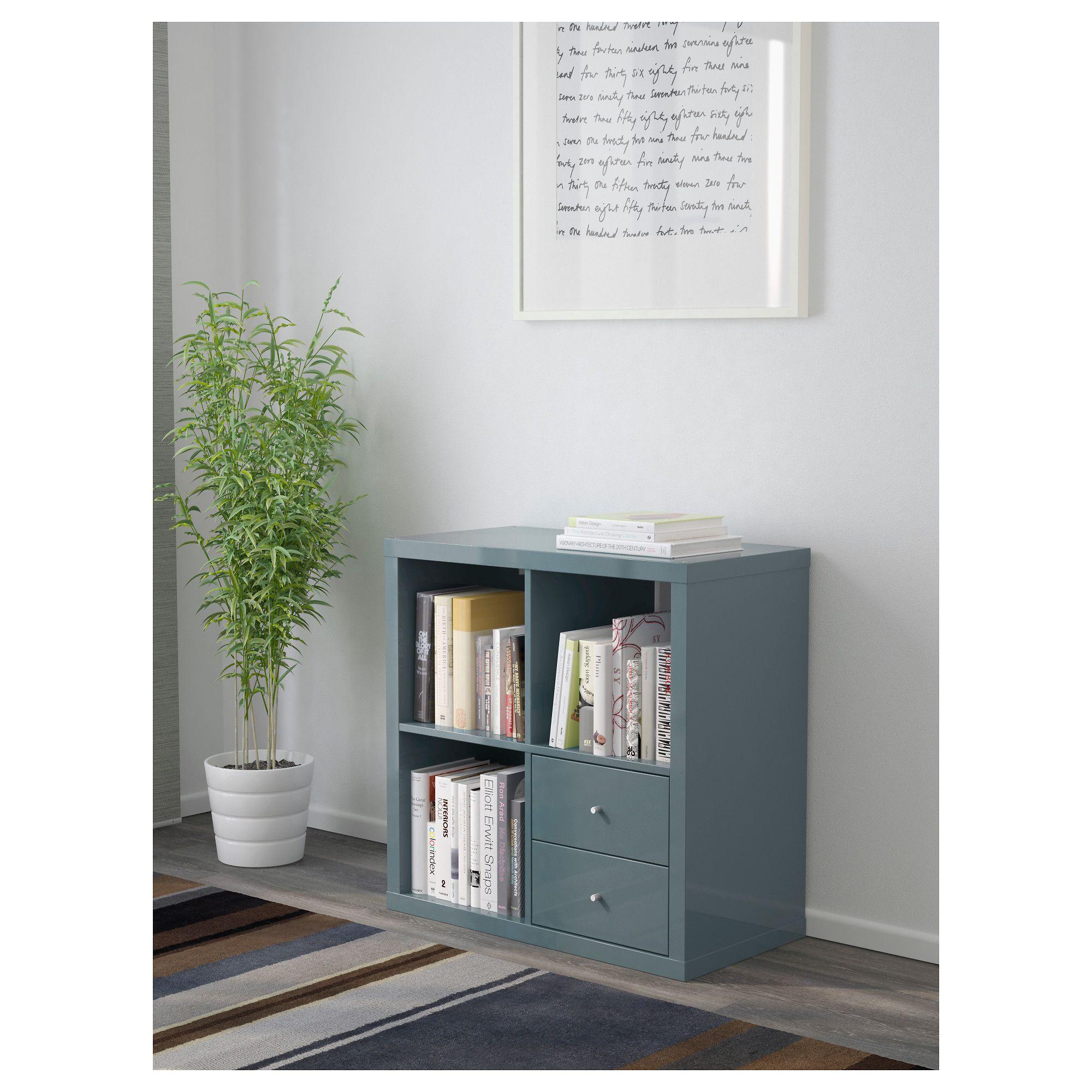 ikea - kallax shelf unit with drawers high-gloss gray-turquoise