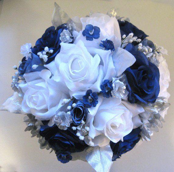 Dark Blue Flowers For Wedding Bouquets: Wedding Bouquet Bridal Silk Flowers 21 Piece Package Dark