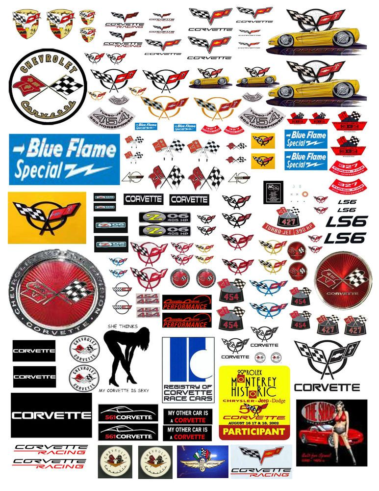 1 24 1 18 Chevy Corvette Decals For Diecast Model Cars Dioramas Diecast Model Cars Diorama Car Model