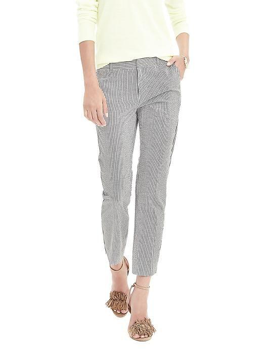 96e42d1cae Avery-Fit Seersucker striped Crop pants by Banana Republic. Trying ...