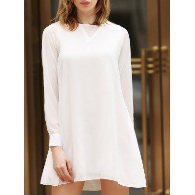 #Elegant openwork beam waist flounce dress for Instock  ad Euro 16.68 in #White #Womens dresses long sleeve
