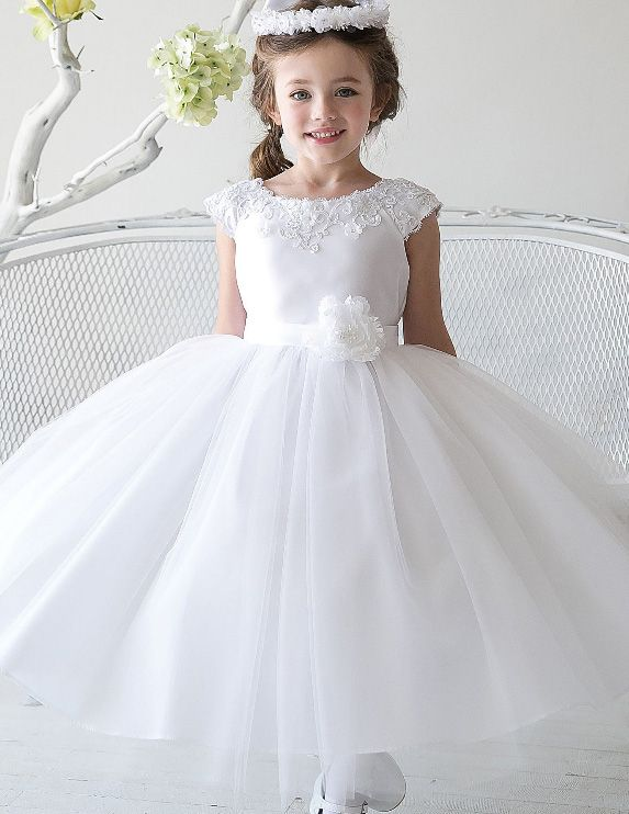 Birthday dress for girls Girl ball gown Lace and tulle flower girl dress,Ivory flower girl dress Lace baby dress Beach flower girl dress