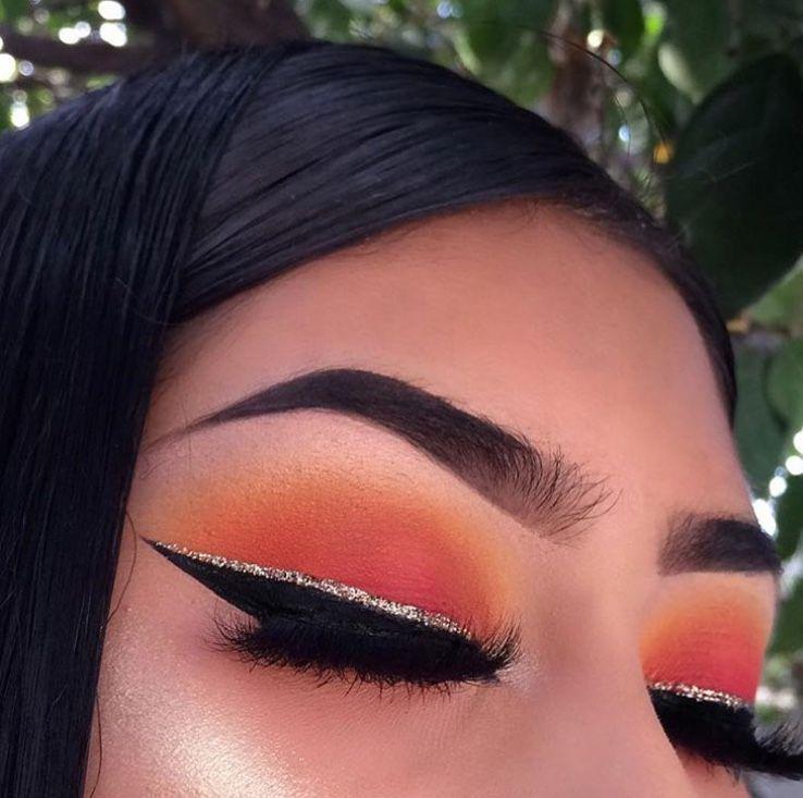 Orange Pink Eyeshadow W Black Glitter Liner Makeup Makeup Eye