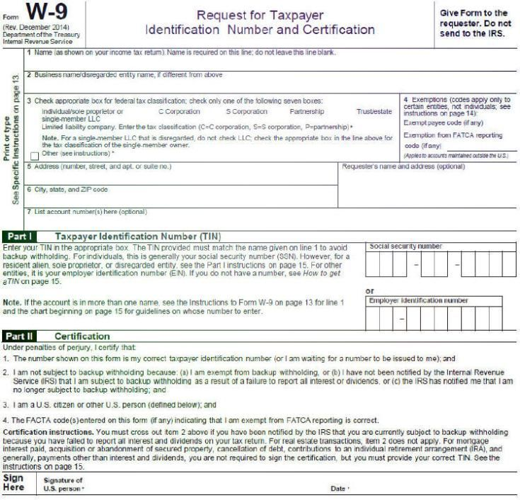 Electronic IRS Form W-9 2014