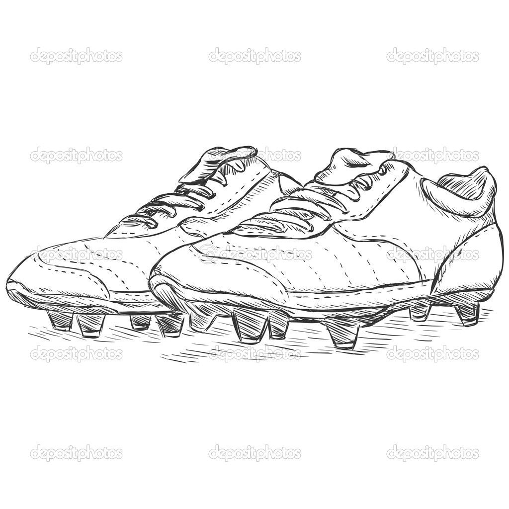 Http St Depositphotos Com 2485347 4077 V 950 Depositphotos 40776227 Vector Sketch Illustration Football Boots Football Boots Rugby Boots Nike Football Boots