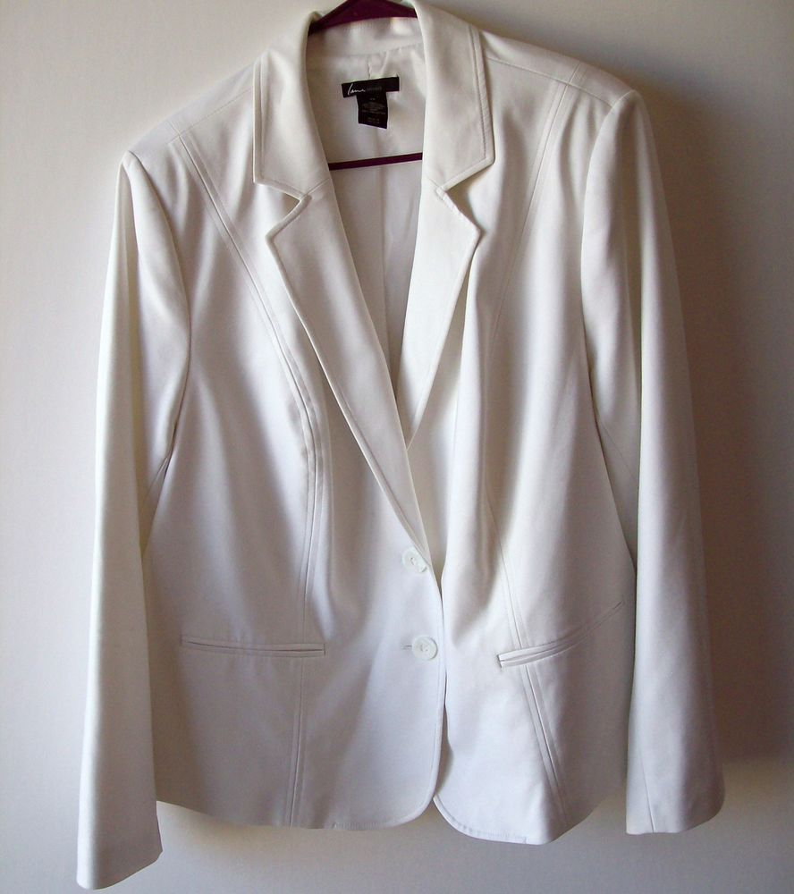 f90cfa8ac32e0 Lane Bryant 24 White Double Weave Stretch Blazer Lined Jacket  LaneBryant   Blazer