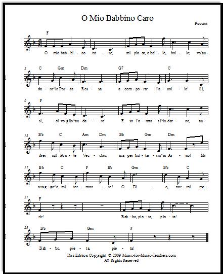 O mio babbino caro by Puccini, free lead sheets and also piano