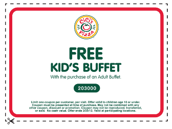graphic relating to Cici's Pizza Printable Coupons named CICIS PIZZA $$ Reminder: Coupon for Cost-free Young children Buffet