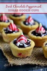 Dark Chocolate Peppermint Sugar Cookie Cups on MyRecipeMagic.com are so delicious and almost too cute to eat!!
