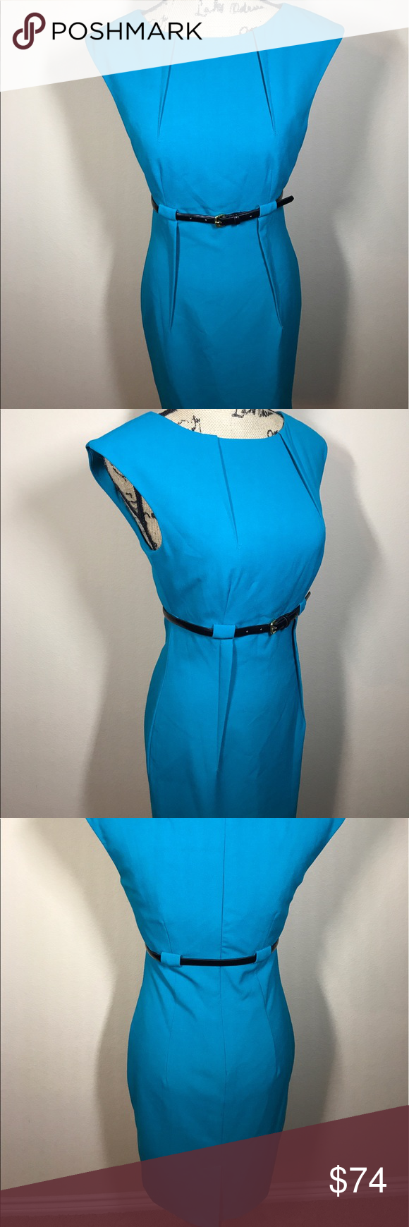 NWT Calvin Klein Sheath Dress 63% Polyester/33% Rayon/4% Spandex  Imported  Polyester lining  Zipper closure  Dry Clean Only  Cap-sleeve sheath dress in featuring pleated front and belt at empire waist  Concealed back zipper  ——————————————  Same dress with different colors are in still in stores for original price of $134.00 Calvin Klein Dresses
