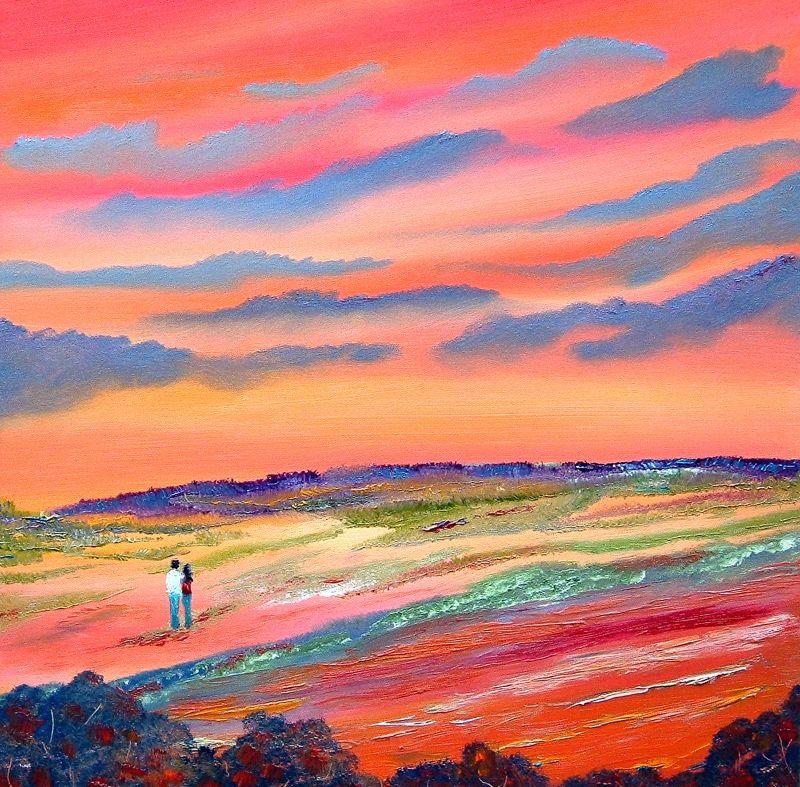 Landscape painting | Downland Lovers Romantic Landscape Painting...Oil On Standard Canvas ...