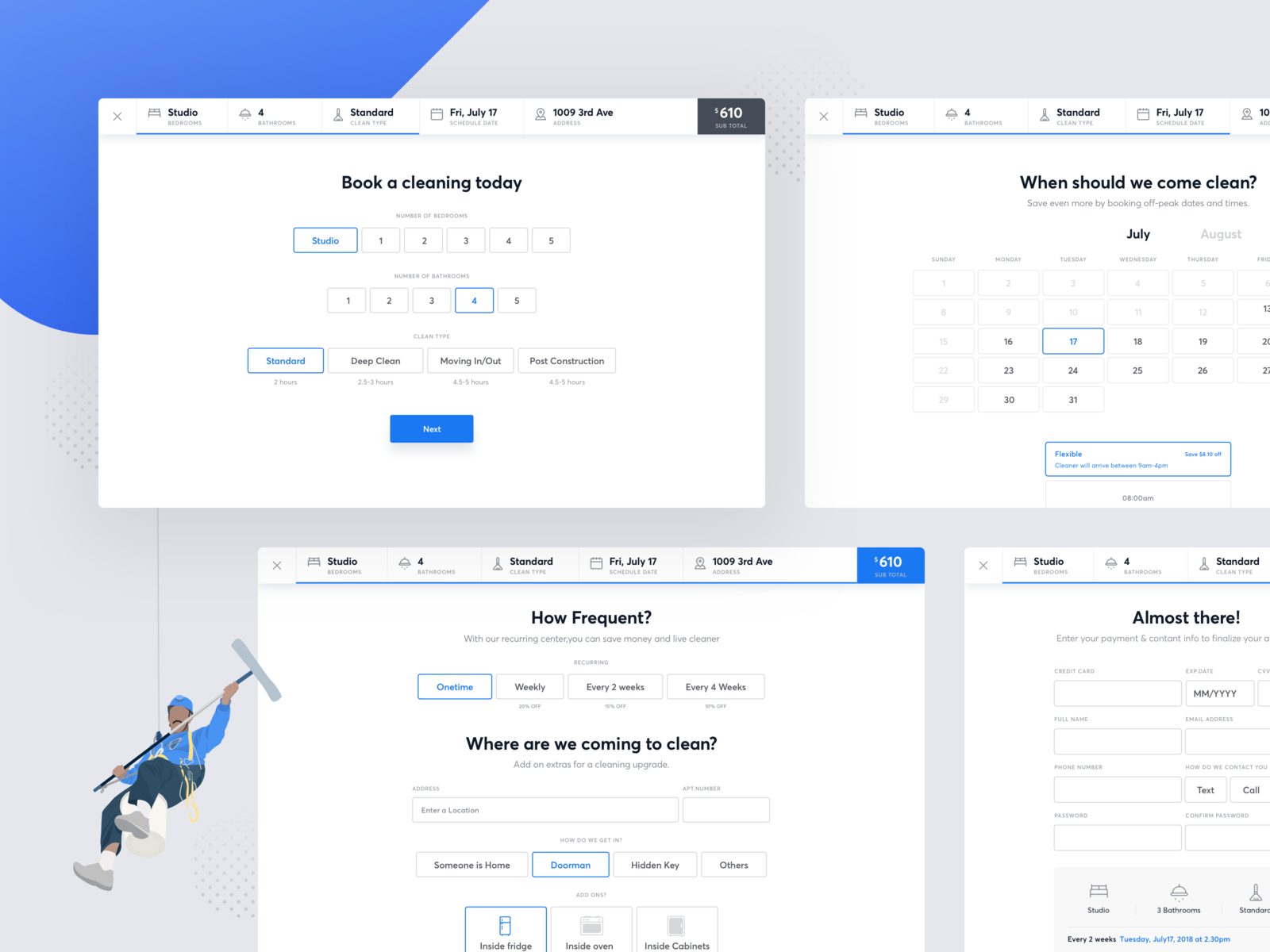 Cleaning App Booking Flow Business Dashboard App Clean Book