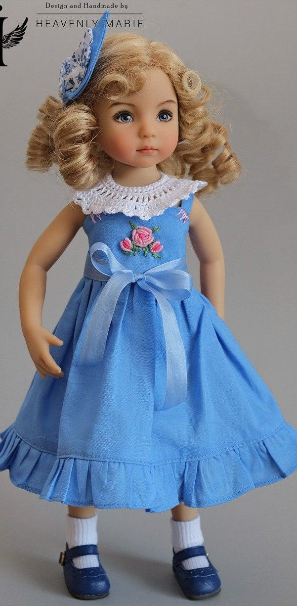 Blue Dress with a Crochet Collar for Little Darling Effner | Muñecas ...