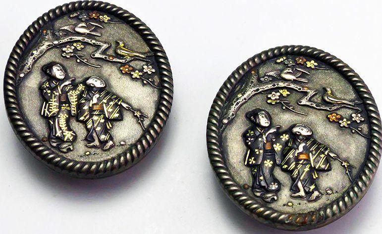Pair of Antique Circa 1880 Shakudo Mixed Metal Stud Buttons