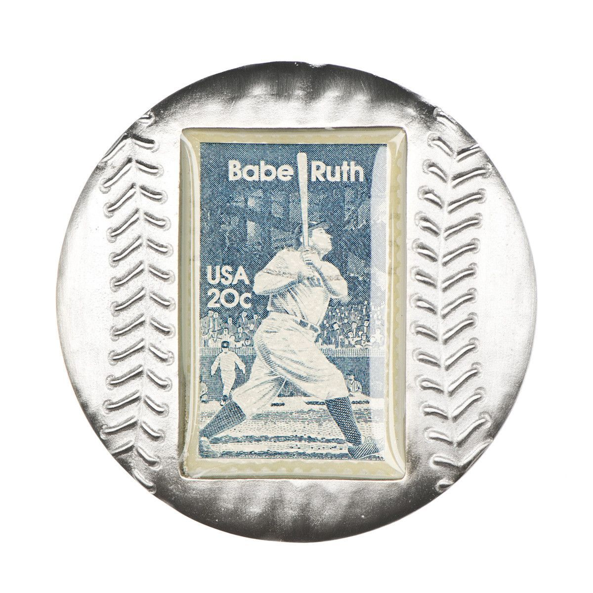 Baseball Paperweight with Babe Ruth Stamp