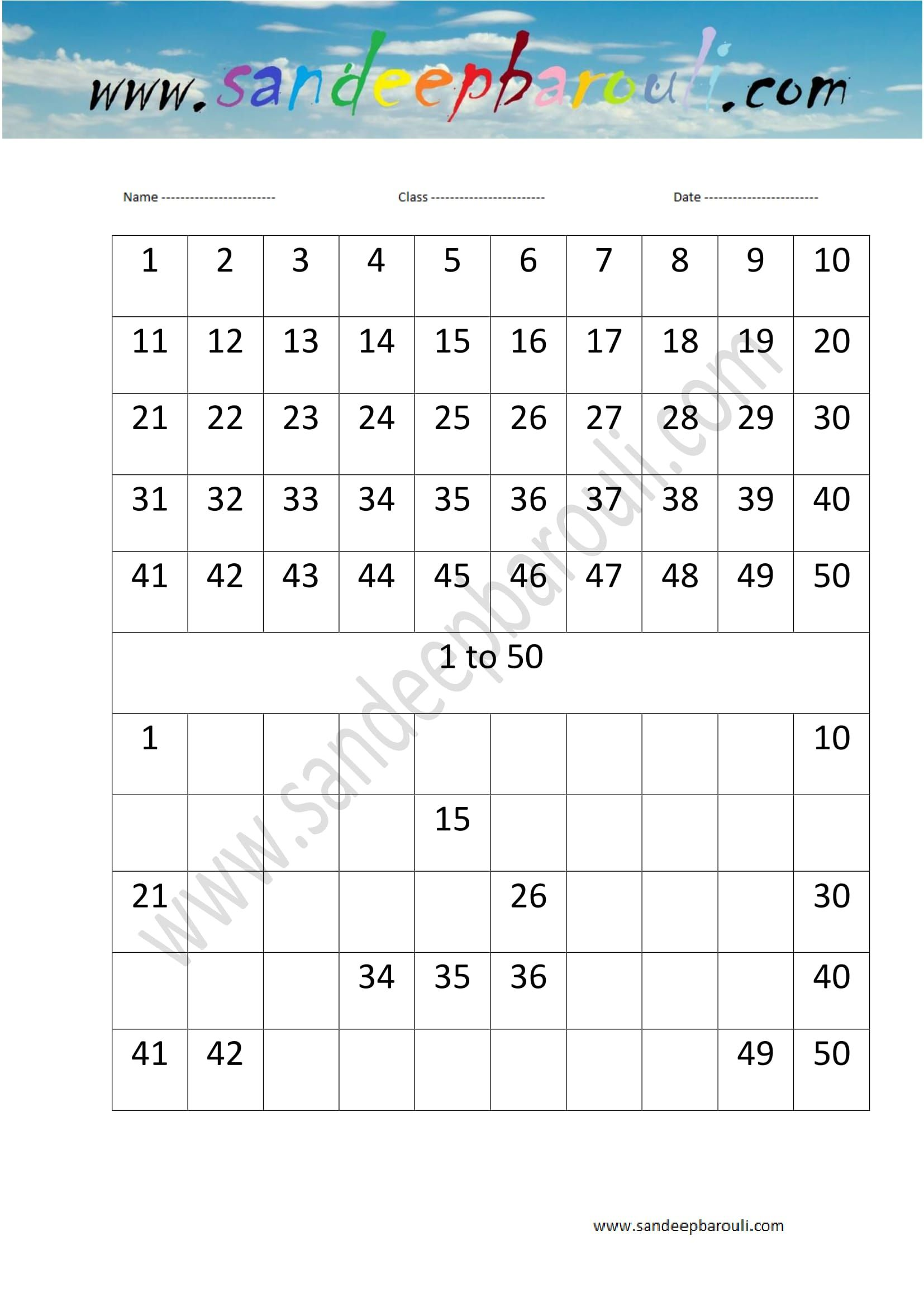 1 To 50 Counting Missing Numbers Worksheet 17