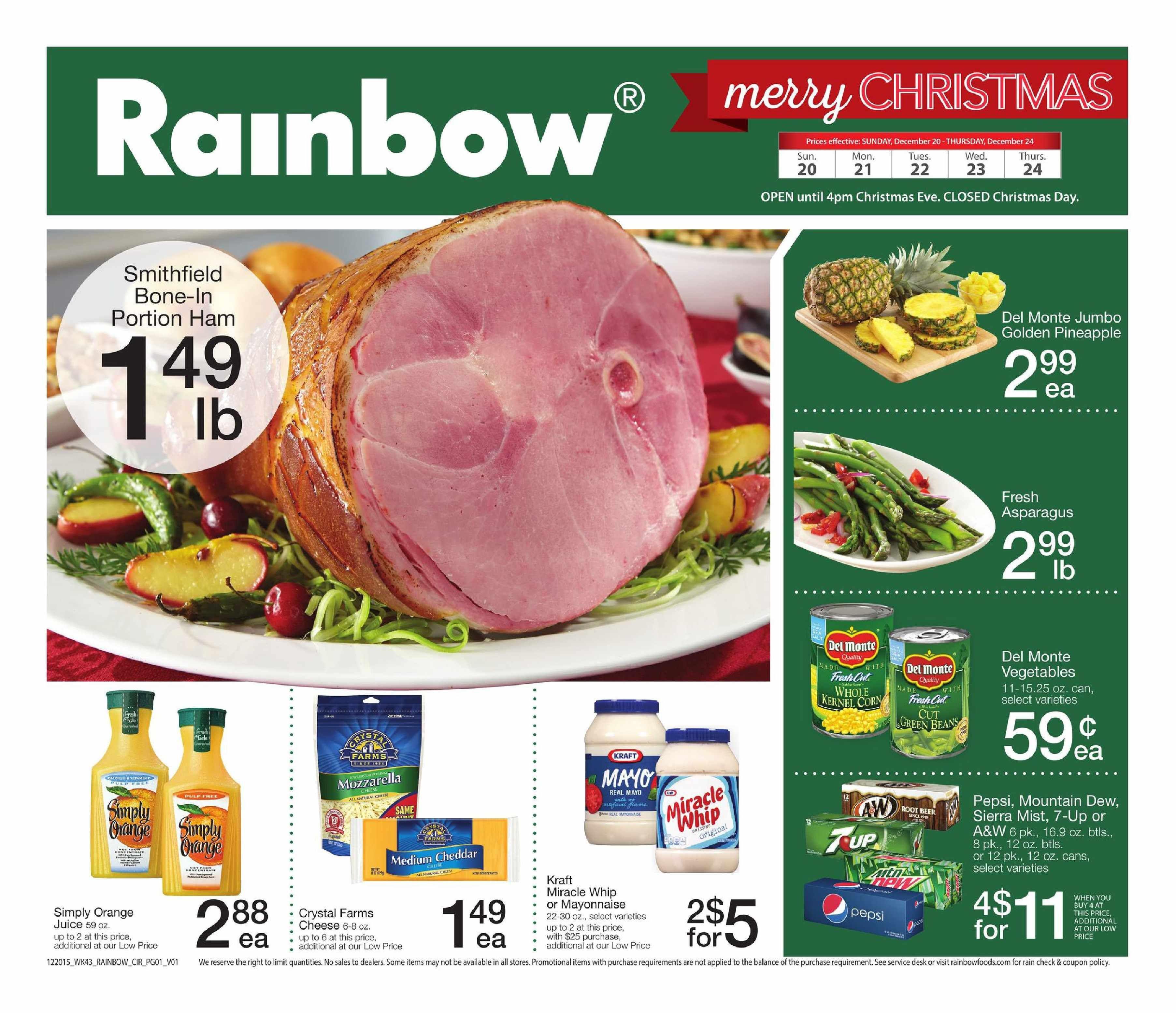Rainbow Flyer Dec 20 - 24, 2015 - http://www.kaitalog.com/rainbow-weekly-ad.html