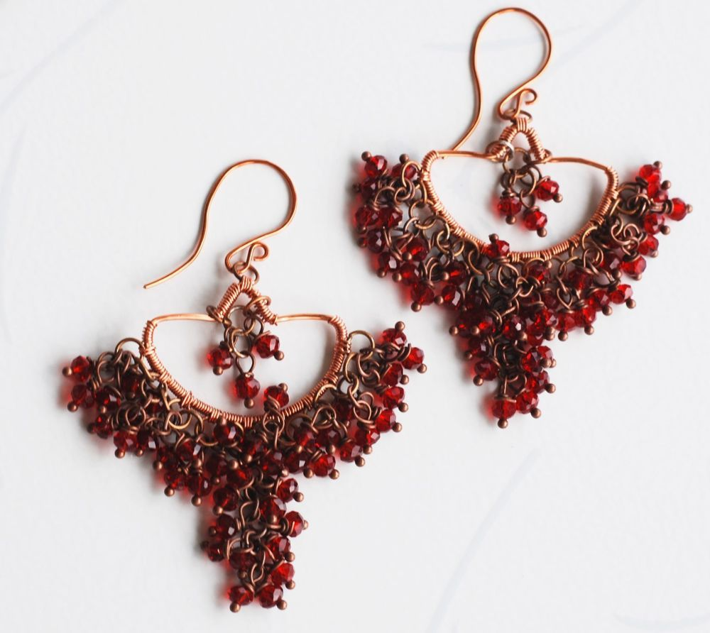 Sexy belly dancer red crystals unique wire wrap chandelier earrings crystal beads silver plated hoop handcrafted earrings ebay arubaitofo Choice Image
