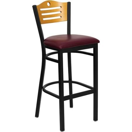 Metal Cut Out Bar Stool 32 Black Natural And Burgundy Kitchen
