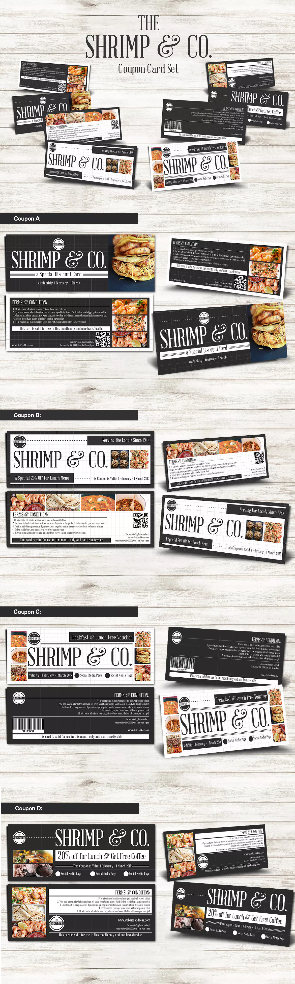 Seafood Restaurant Coupon Card Template PSD | Card & Invite Design ...