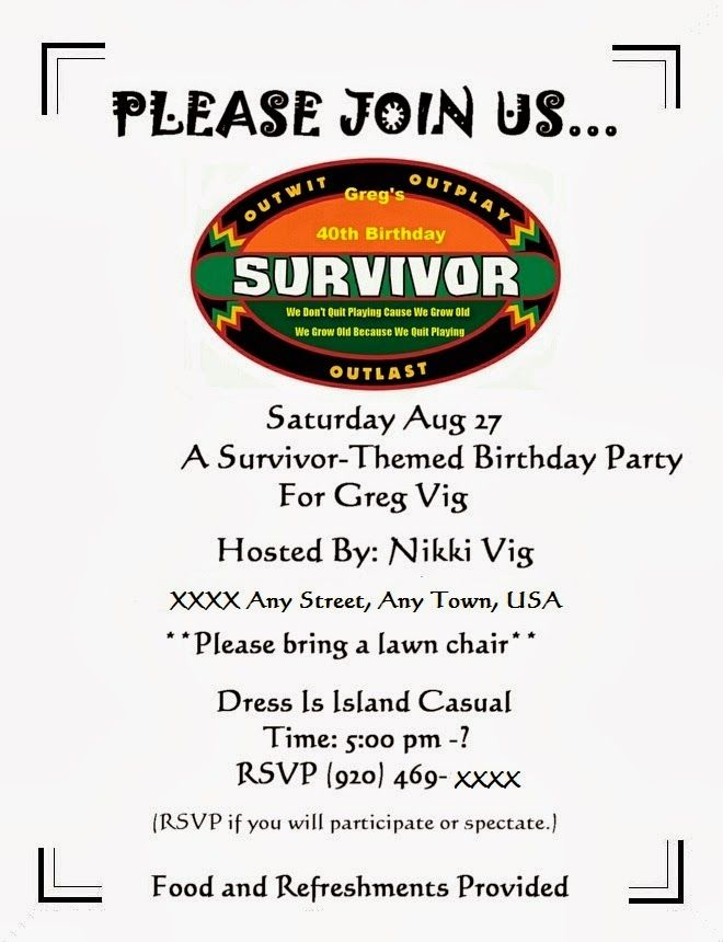 image result for survivor birthday party invitations birthday