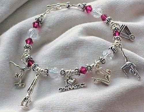 5ee3feba6 Gymnastics Gymnast Theme Sterling Silver Charm Bracelet Hand-crafted ...